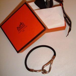 Hermes Paris Silver Black Leather Bracelet w/ Box